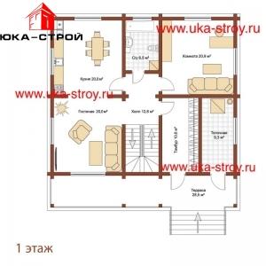ПРОЕКТ ДЕРЕВЯННОГО ДОМА 195 М² + 42 М²