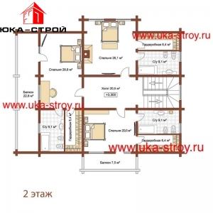 ПРОЕКТ ДЕРЕВЯННОГО ДОМА 290 М² + 82 М²